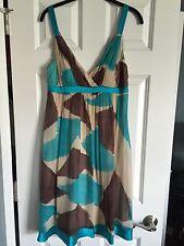 Sue Wong Silk Sleeveless Dress Teal Cream Brown Sz 10