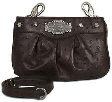 Harley Davidson Brown Leather Ostrich Shoulder Purse Clip Belt Bag Handbag OST20