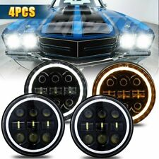 "4PCS 5 3/4"" 5.75"" Projector LED Headlights Sealed Beam Halo Ring Lamp Bulbs"