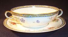 Haviland Limoge GANGA Handled Flat CREAM SOUP Bowl Serving Cup Saucer Coromandel