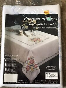 """Tobin Stamped Embroidery Oblong Tablecloth """"Bouquet Of Roses"""" 50"""" x 70"""" New"""