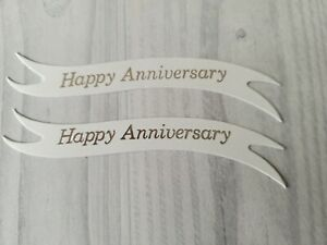 Pack of 10/15 Happy Anniversary die cut banners card toppers embellishments
