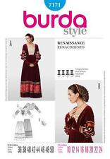 Burda Sewing Pattern 7171 Renaissance Medieval Costume 2pc Gown w Snood 10 - 24