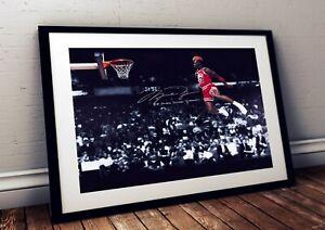 Michael Jordan Chicago Bulls 1988 Slam Dunk NBA Autographed Poster Print