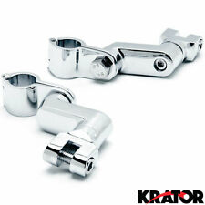 "Chrome 1"" Engine Guard Bowleg Footpeg Clamps for Motorcycles Cruisers Bobbers"