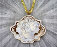 Shell Cameo Pendant Necklace in 14kt rolled gold  Pernice of Italy  Wire Wrapped