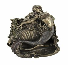 "7.5"" Mermaid & Conch Trinket Box Nautical Ocean Decor Statue Figure Figurine"
