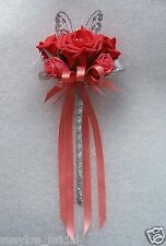Coral Rose Butterfly Wand Flower Girl Bridesmaid Wedding Silver
