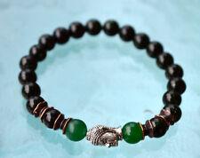 Energized 8 mm Black Onyx Green Jade Wrist Mala Beads Healing Bracelet - Blessed