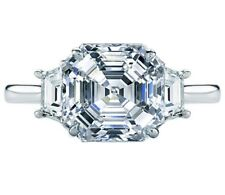 Asscher Cut Platinum Diamond Engagement Ring GIA Certified 3.50 Carat