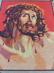 VINTAGE Unworked TAPESTRY CANVAS Crown Of Thorns RELIGIOUS Jesus CATHOLIC