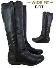 LADIES WOMENS WIDE E FITTING MID CALF FLAT COMFORT BIKER RIDING BOOTS SHOES SIZE