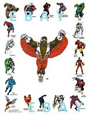 Marvel CHARACTERS BORDERED PRINT w FALCON Vintage art Avengers