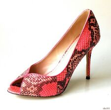 new $550 JEAN-MICHAEL CAZABAT Carrie pink/coral SNAKESKIN heels shoes 38.5 8.5