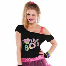 I Love The 80s T-Shirt Fancy Dress Ladies Girls Teen Retro Neon Rave Crop Top BN