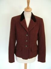 Vintage 80s Laura Ashley red brown tweed velvet collar fitted riding jacket, S