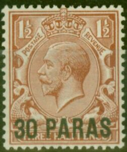 British Levant 1913 30pa on 1/2d Red-Brown SG35a Surch Double One Albino FLMM