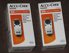 100 test strips x2 Accu Chek (mobile In 1 Cassette)Brand New/Sealed Exp 10/2018