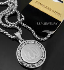 """Stainless Steel Allah Muslim CZ Pendant & 24"""" Round Box Chain Necklace 144S"""