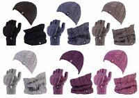 Heat Holders - Womens Thermal Hat, Neckwarmer, Fingerless converter Gloves set