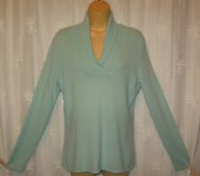 MEDIUM PRIVE CASHMERE V NECK SHAWL COLLAR SEAFOAM PULLOVER SWEATER