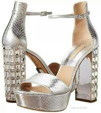 Michael Kors Chunky Crystal Heel Nikki Silver Sandal Shoe 8 - 38 Pump