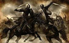 Enmarcado impresión soldados lucha a caballo (imagen Medieval Caballeros Templarios)