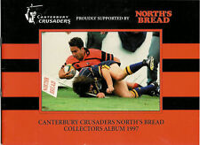 PAIN « Canterbury Crusaders » 1997 série du Nord de 16 cartes de Rugby & Album officiel