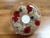 GLASS CANDLE HOLDER HAND MADE WITH FLORAL DESIGN (Red Roses)