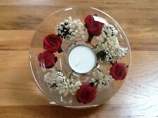 GLASS CANDLE HOLDER WITH FLORAL DESIGN (Red Roses)