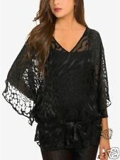 $118 NWT MARCIANO GUESS EMMA BURNOUT TUNIC TOP BLACK size XS
