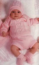 BABY KNITTING PATTERN   hearts sweater pants bonnet booties blanket 4ply