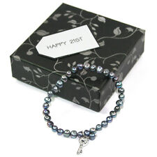 BG3194-2 Happy 21st Birthday Single Strand Real Freshwater Pearl Bracelet + Key