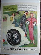 1933 Vintage GENERAL DUAL BALLOON TIRES Formal Tuxedo Fashion Color Ad