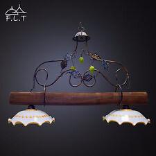Lampadario bilancere Rustico 2 luci in ferro battuto CERAMICA e LEGNO mod limoni