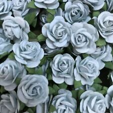 BLUE PASTEL ROSE MULBERRY PAPER FLOWER WIRE STEM DIY CRAFTS SCRAPBOOK CARD 2CM