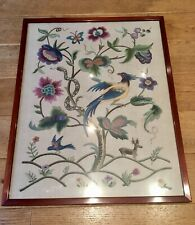 More details for vintage art deco jacobean style crewel embroidery panel woolwork