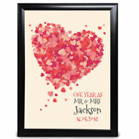 One Year Mr & Mrs First Personalised Wedding Anniversary Gift Heart 1st  Print