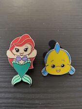 Disney Parks Wishables Pin Set Little Mermaid Ariel and Flounder