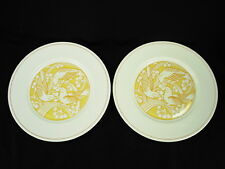 2 GENUINE LALIQUE LIMOGES YELLOW MERLES ET RAISINS DINNER PLATES NEW OLD STOCK!!