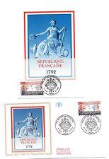 """FRANCE """" 1792, An 1 de la République """". Carte et envelopp  e 1er jour"""