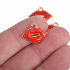 10 RED LIPS Charms, Gold Kiss, Enamel Valentine's Day Charms, 19mm, chs3710
