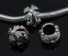 Wholesale 40/200pcs Tibetan Silver big hole flowers beads Fit Charm Bracelet