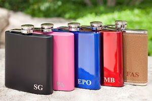 """Personalized """"Initial"""" Flask, Custom Engraved Flask RED, BLUE, BLACK, PINK ..."""