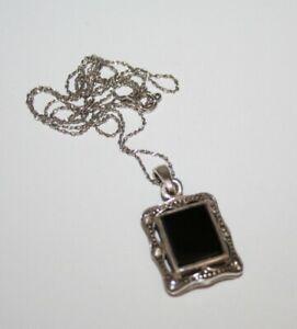 "VINTAGE STERLING SILVER 925 Black Onyx Gemstone Pendant & 18"" CHAIN"