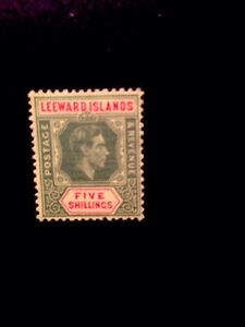 Leeward Islands Sg 112B 1943 5/- Ordinary Paper Lightly Mounted.