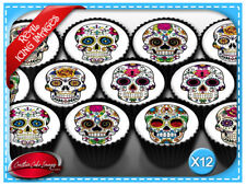 12 Sugar Skull Edible Icing Image Cupcake Topper Birthday Party Decorations