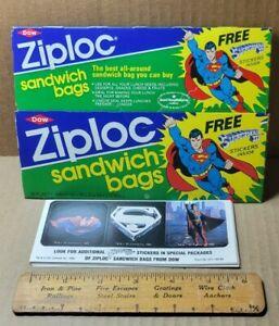 Vintage 1983 Ziploc Superman III Box & 10 Sticker Sheets