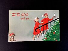Vintage Unused Xmas Greeting Card Cute Couple in Pajama's & Kitten With a Wish