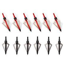 24Pcs 100grain Broadheads 3 Fixed Blade Arrowheads Screw In Point Hunting Arrows